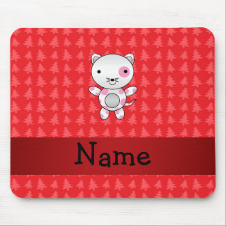 Personalized name cat red christmas trees mouse pad