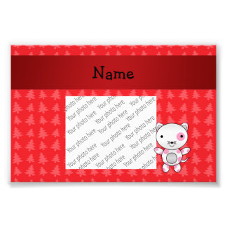 Personalized name cat red christmas trees photo