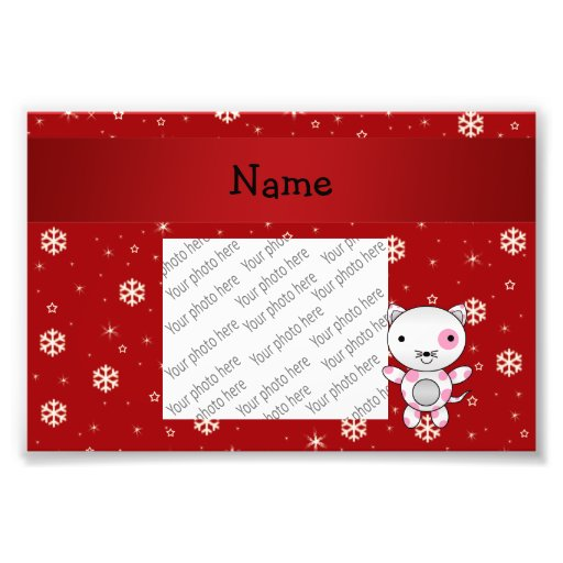 Personalized name cat red snowflakes photograph