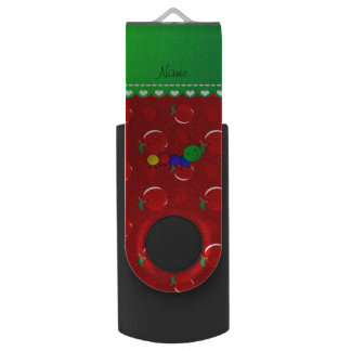Personalized name caterpillar red apples swivel USB 2.0 flash drive