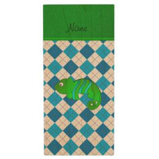 Personalized name chameleon blue argyle wood USB 2.0 flash drive