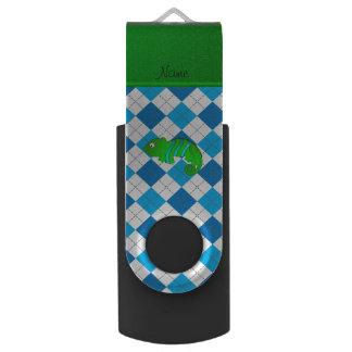 Personalized name chameleon blue argyle swivel USB 2.0 flash drive