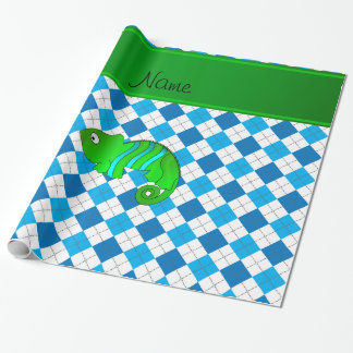Personalized name chameleon blue argyle wrapping paper