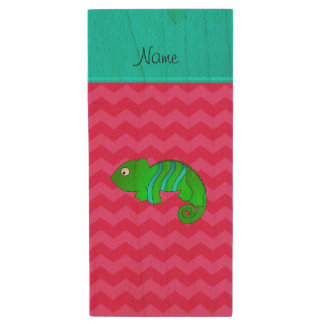 Personalized name chameleon pink chevrons wood USB 2.0 flash drive
