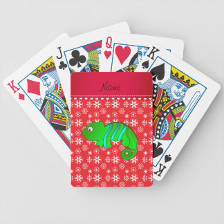 Personalized name chameleon red snowflakes bicycle playing cards
