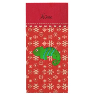 Personalized name chameleon red snowflakes wood USB 2.0 flash drive