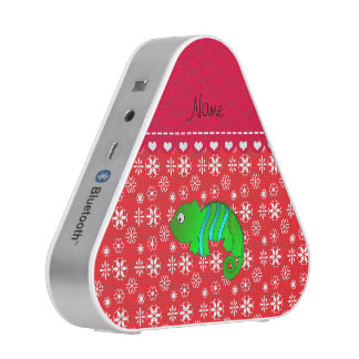 Personalized name chameleon red snowflakes speaker