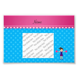 Personalized name cheerleader blue polka dots photograph
