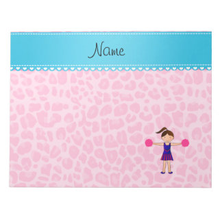 Personalized name cheerleader pink leopard notepad