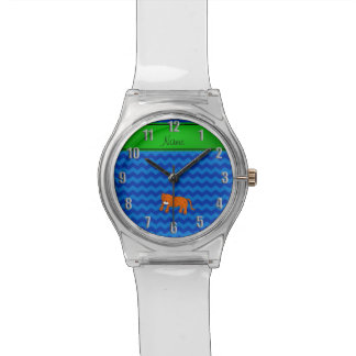 Personalized name cheetah blue chevrons watch