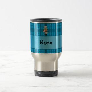 Personalized name chef blue plaid mugs
