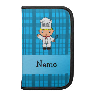 Personalized name chef blue plaid organizers