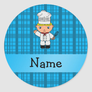 Personalized name chef blue plaid round sticker