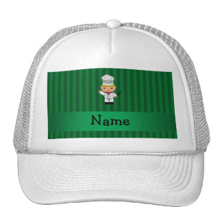 Personalized name chef green stripes trucker hat