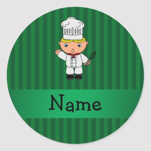 Personalized name chef green stripes round stickers