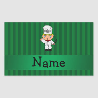 Personalized name chef green stripes rectangular sticker