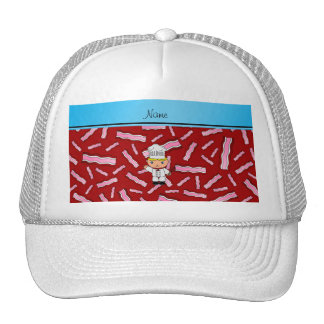 Personalized name chef red bacon trucker hat