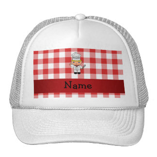 Personalized name chef red white checkers mesh hat