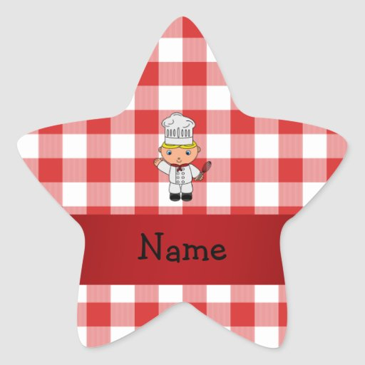 Personalized name chef red white checkers star sticker