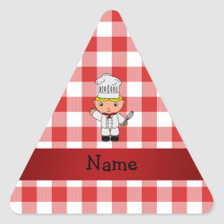 Personalized name chef red white checkers stickers