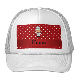 Personalized name chef red white polka dots hat