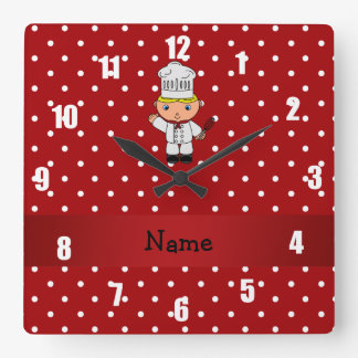 Personalized name chef red white polka dots square wall clock