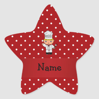 Personalized name chef red white polka dots stickers