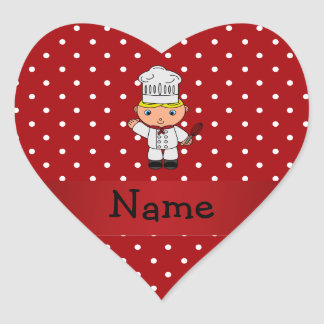 Personalized name chef red white polka dots heart sticker