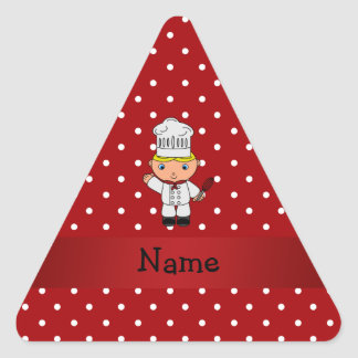 Personalized name chef red white polka dots sticker