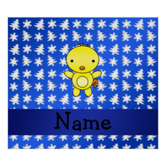 Personalized name chick blue snowflakes trees print