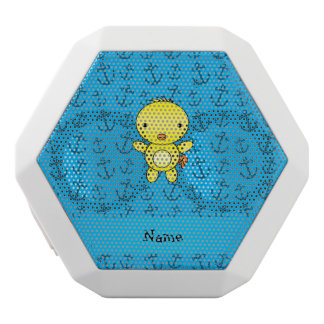Personalized name chicken blue anchors pattern white boombot rex bluetooth speaker