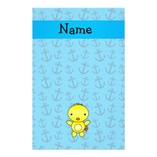 Personalized name chicken blue anchors pattern stationery