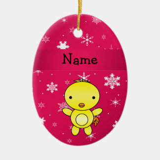 Personalized name chicken pink snowflakes christmas ornament