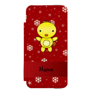 Personalized name chicken red snowflakes incipio watson™ iPhone 5 wallet case