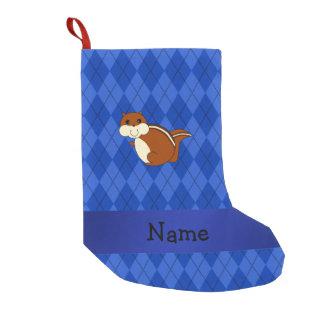 Personalized name chipmunk blue argyle small christmas stocking