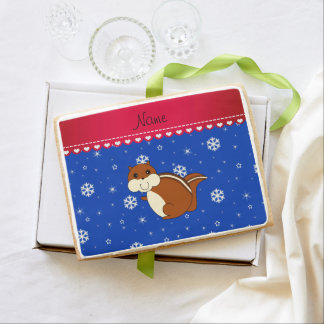 Personalized name chipmunk blue snowflakes