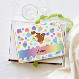 Personalized name chipmunk rainbow polka dots