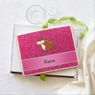 Personalized name chipmunk rose pink glitter