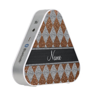 Personalized name chocolate brown glitter argyle