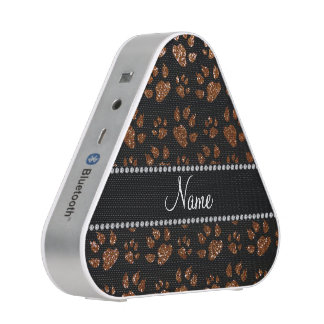 Personalized name chocolate brown glitter cat paws