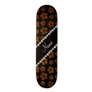 Personalized name chocolate brown glitter flowers 19.7 cm skateboard deck