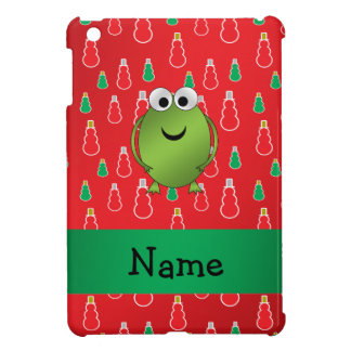 Personalized name christmas frog red snowmen iPad mini cover