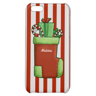 Personalized Name Christmas Stocking Candy Cane iPhone 5C Covers