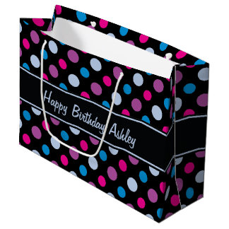 Personalized Name Colorful Polka Dots Large Gift Bag
