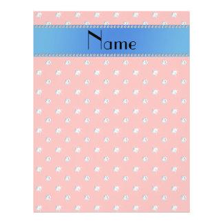 Personalized name coral pink diamonds blue stripe flyer design