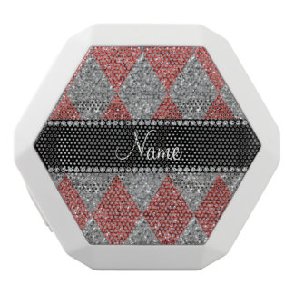 Personalized name coral pink glitter argyle