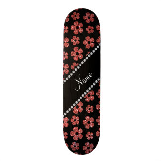 Personalized name coral pink glitter flowers 20.6 cm skateboard deck