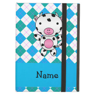 Personalized name cow blue green argyle iPad air case