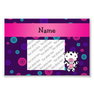 Personalized name cow pink purple flowers photo