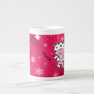 Personalized name cow pink snowflakes tea cup